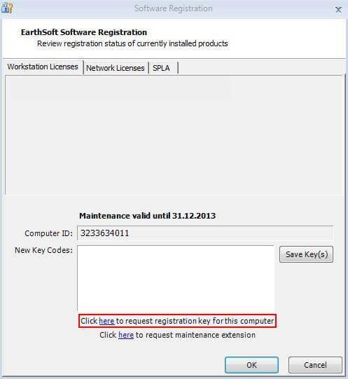 EarthSoft EDGE software registration screen