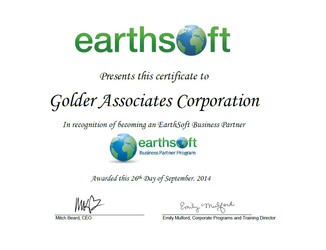 Golder Business Partner Program Certificate