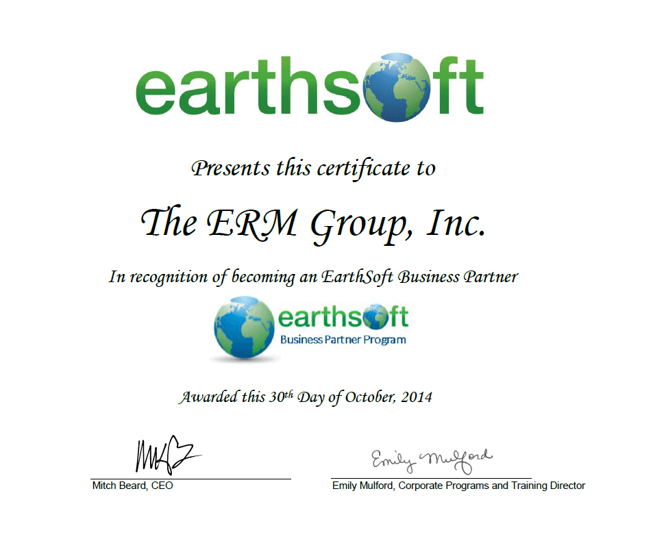 The ERM Group, Inc. Business Partner Program Certificate