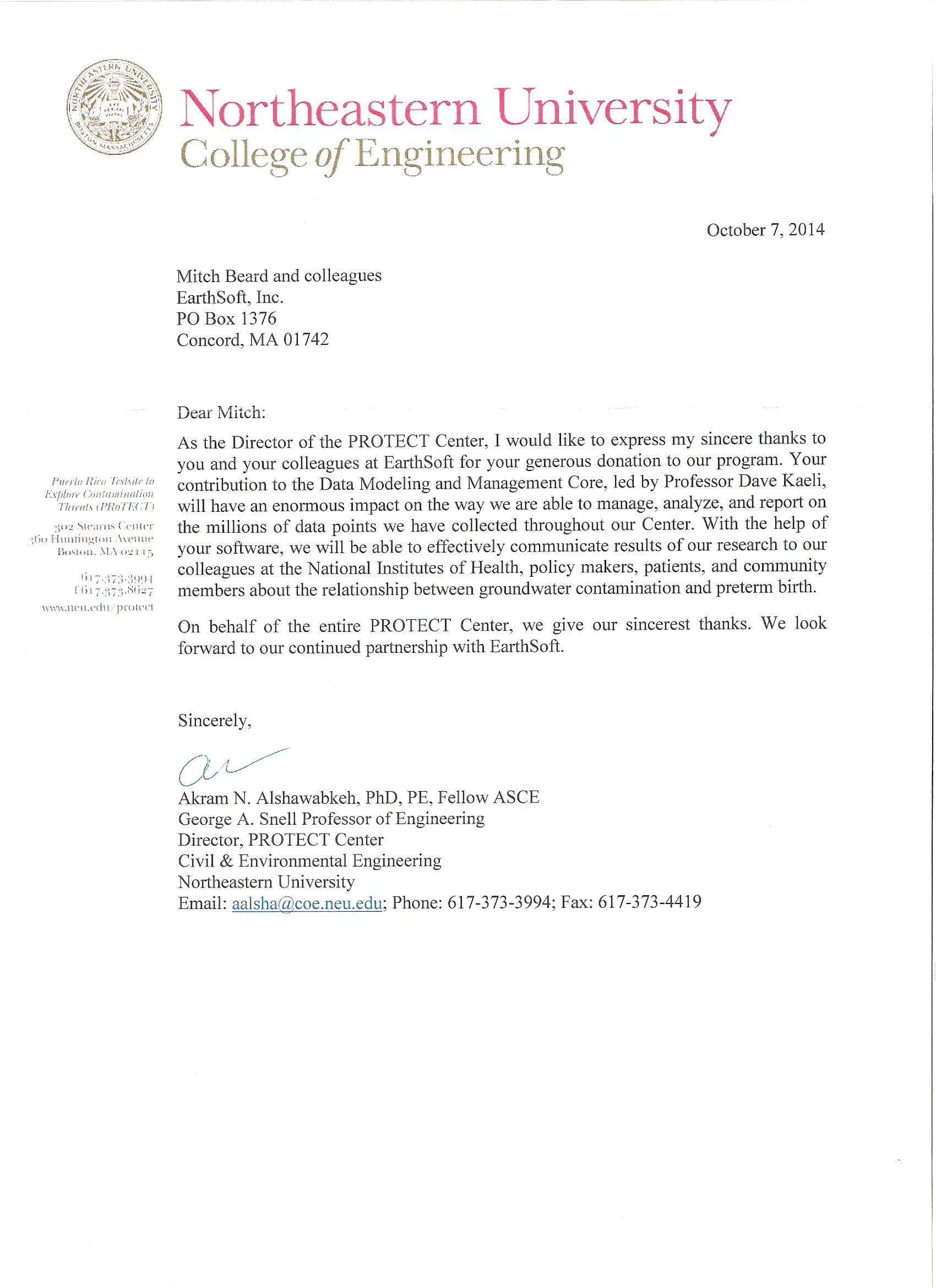 Northeastern University PROTECT Center Letter