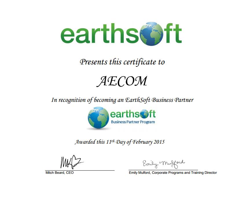 AECOM Business Partner Program Certificate