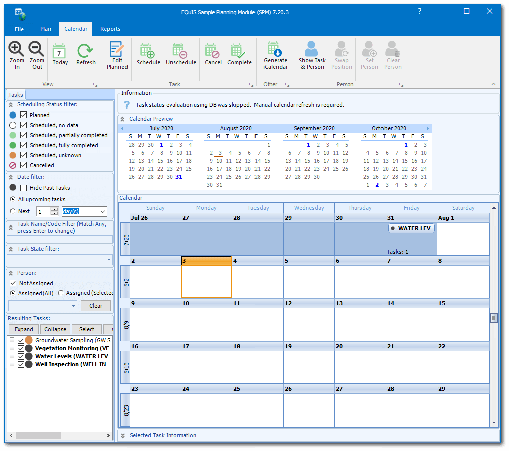 Sample planning module blank calendar