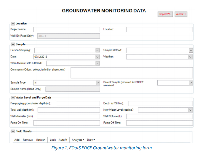 EQuIS EDGE Groundwater monitoring form